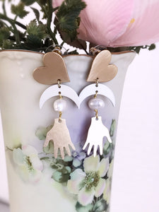 heart and hand earrings - brushed brass / ivory / pearl