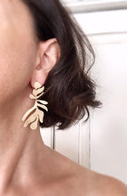 frond earrings - brushed brass