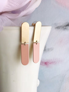 split bar earrings - blush