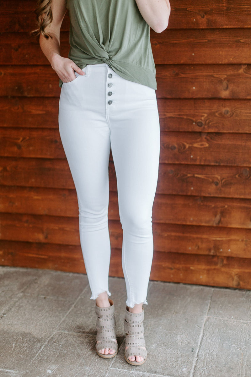 The Jordyn 5 Button High Rise Jeans in White