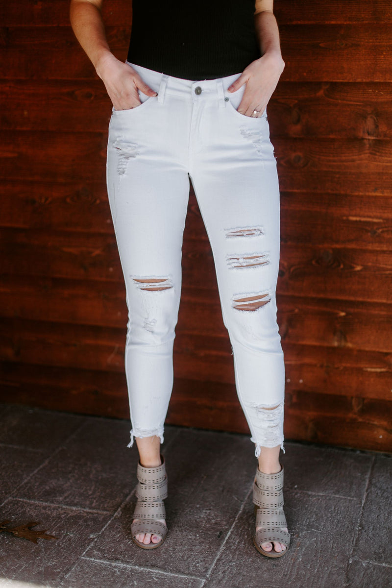 The Chloe Distressed Midrise Ankle Jean