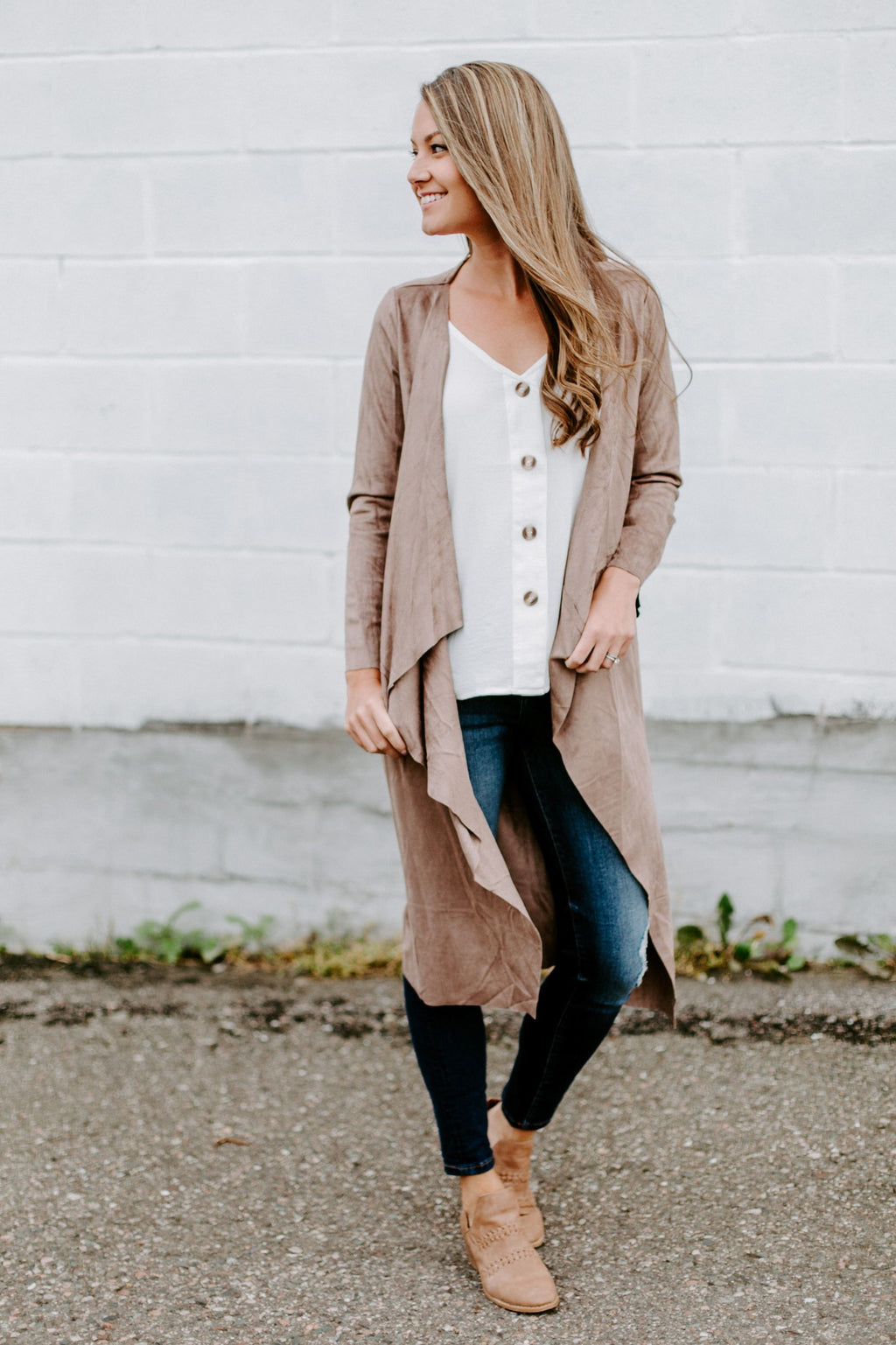 The Jade Faux Suede Cardigan