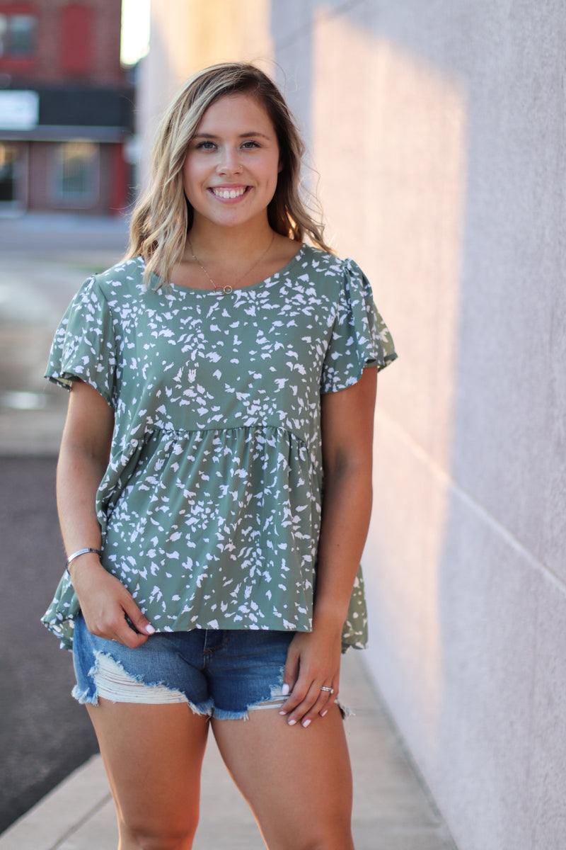 The Ava Babydoll Blouse in Sage