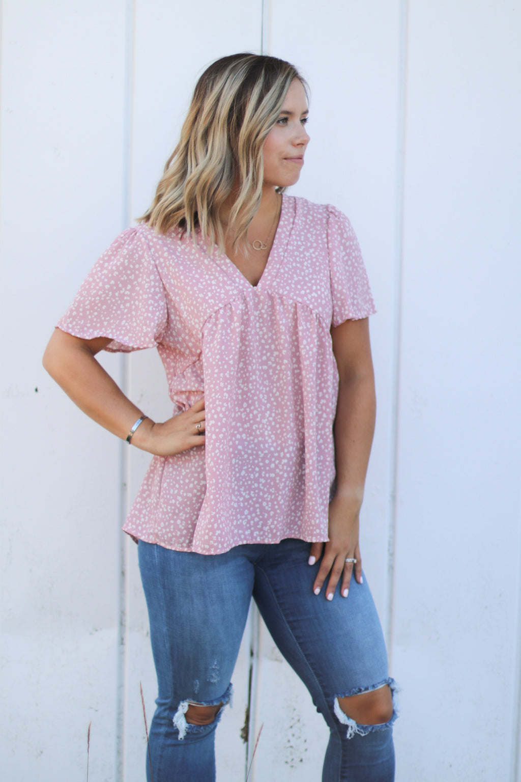 The Dottie Blouse in Rose