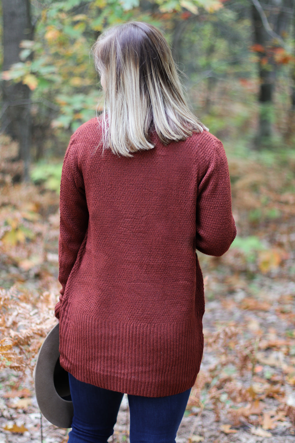 The Brockway Cardigan in Rust