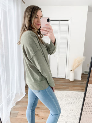 The Gwen Ribbed Top in Sage