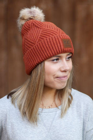 C.C. Large Patch Beanie in Rust
