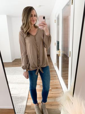 The Janelle Striped Long Sleeve in Taupe