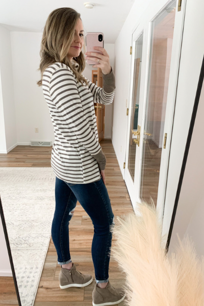 The Kylie Striped Long Sleeve in Cocoa