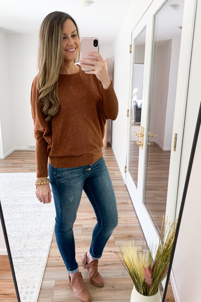 The Hunter Dolman Sweater in Chestnut