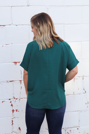 The Fall Staple Blouse in Emerald