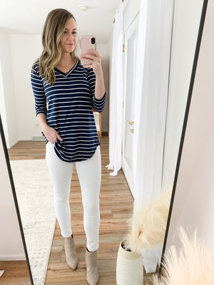 Navy Striped V Neck / Deal of the Week / *FINAL SALE*