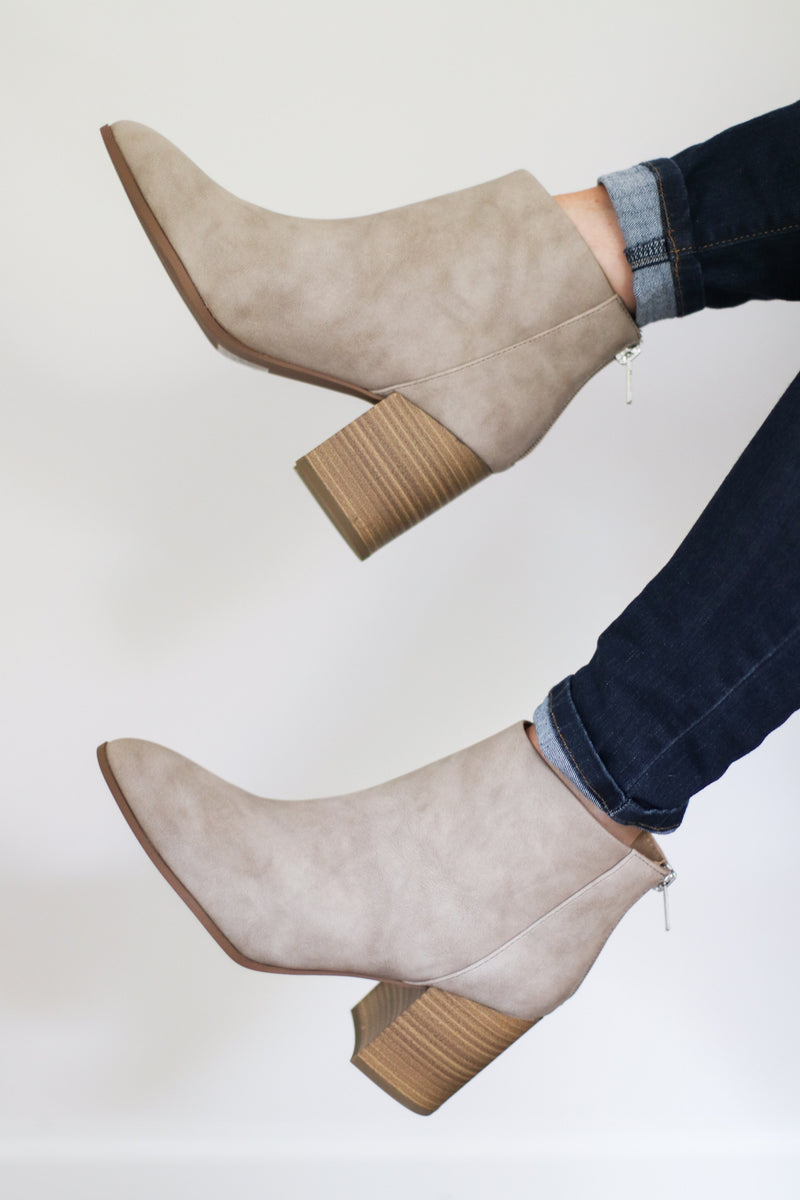 The Maxwell Booties in Taupe