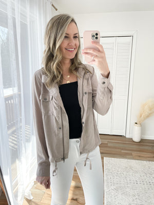The Alyssa Utility Jacket in Taupe