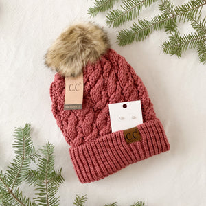 Cable Knit Hat + Earrings Gift Set