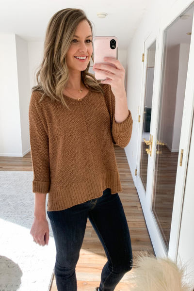 The Dominique Sweater in Cocoa