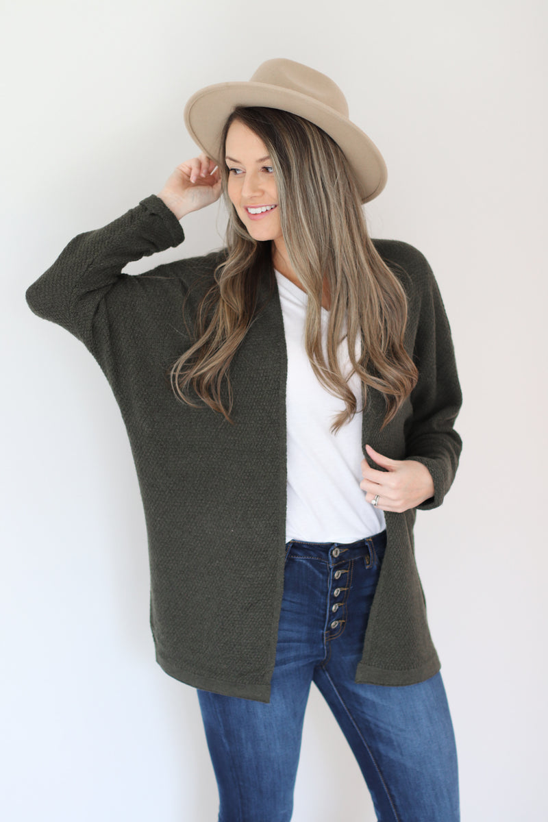 Cozy Waffle Knit Cardigan in Olive