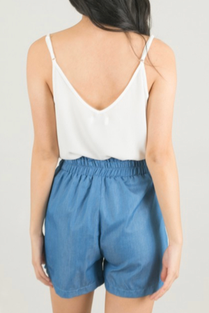 Chambray Paper Bag Shorts