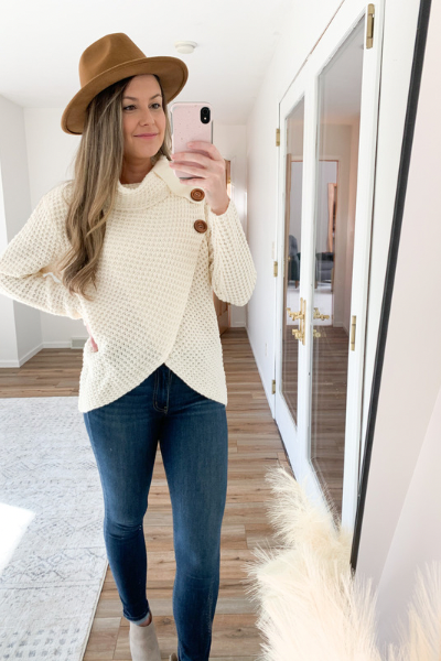 The Porter Waffle Knit Cowl in Ivory