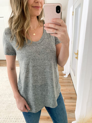 The Rae Slub Knit Tee in Heather Grey