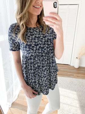 The Millie Babydoll Top in Navy Floral