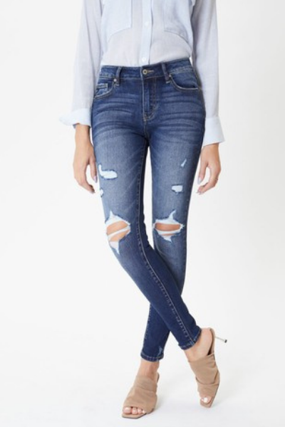 The Collins Mid Rise Distressed Jeans