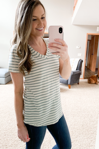 Dusty Sage Striped Tee