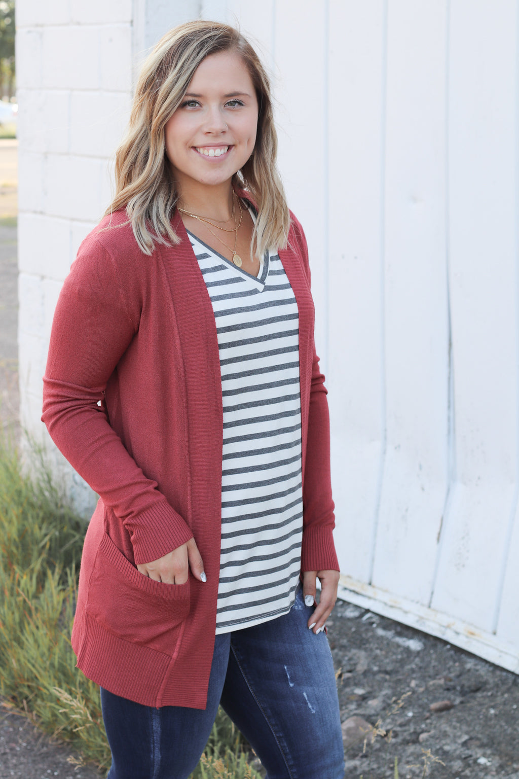 Cozy Pocket Cardigan in Brick