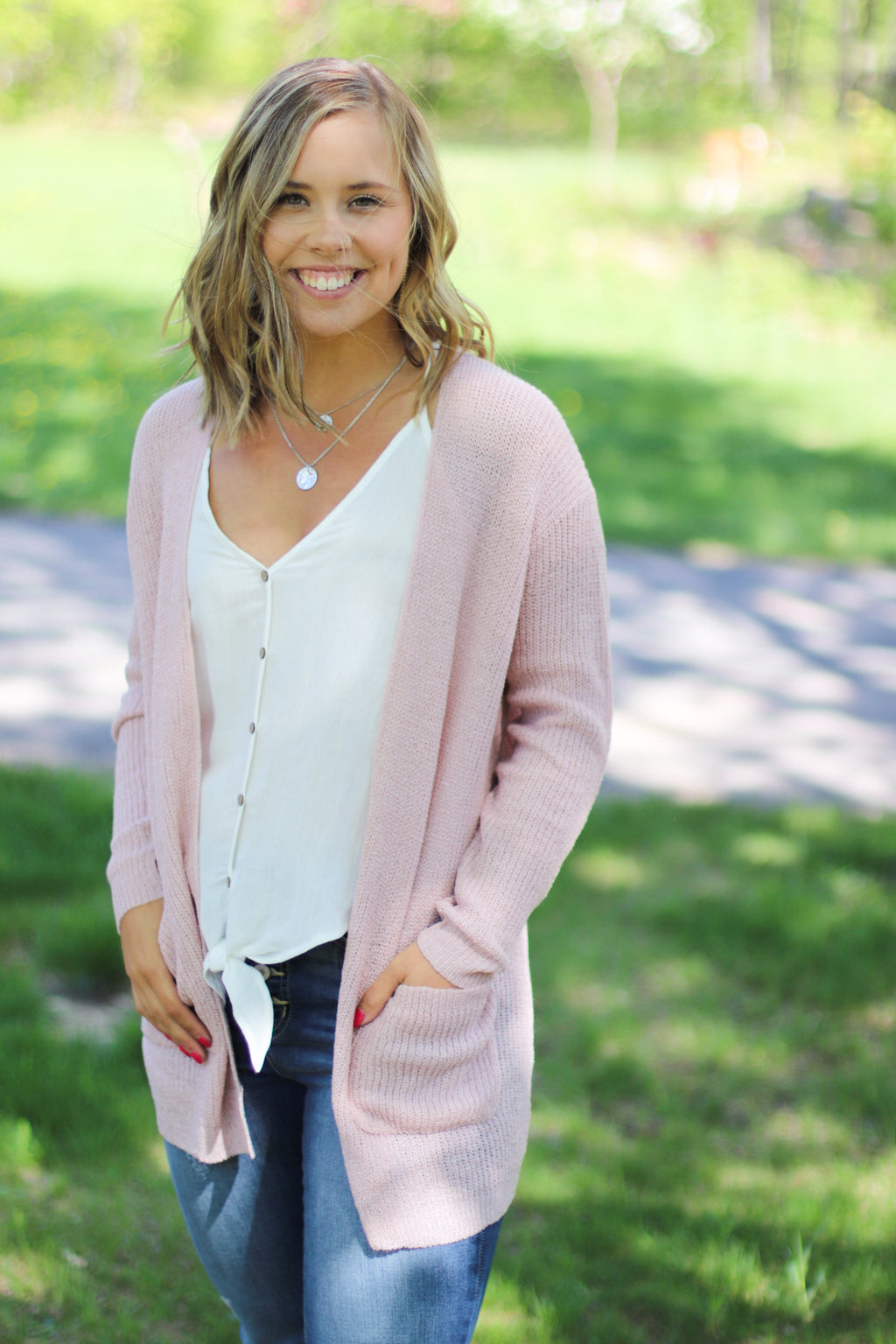 Blush Open Knit Cardigan