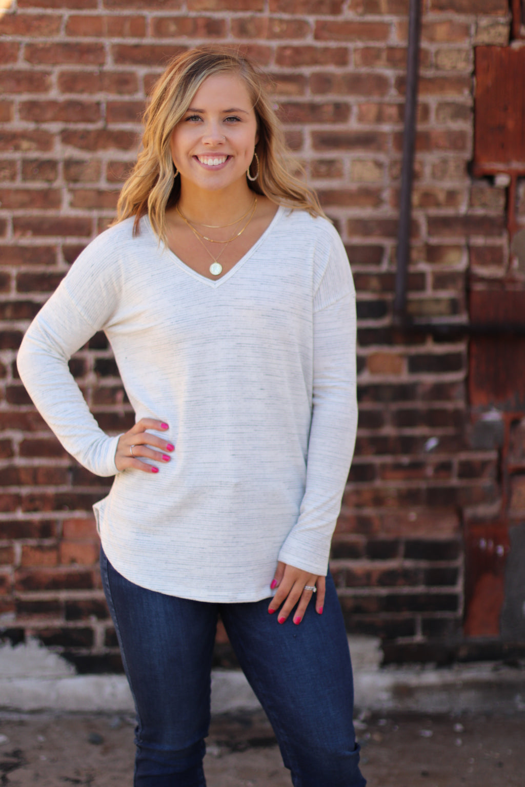 Heathered Oatmeal Raglan Top