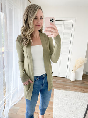 Cozy Pocket Cardigan in Spring Green