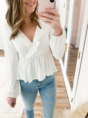 The Bella Ruffle Front Long Sleeve