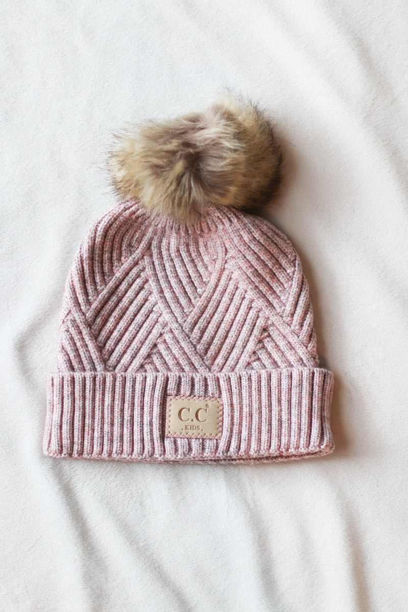 Kids Large Patch C.C. Beanie in Rose