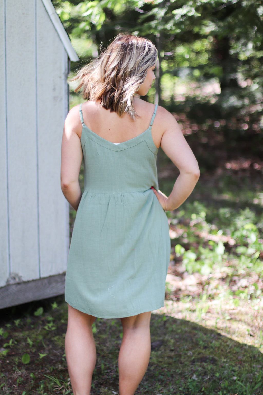 The Sophia Button Front Dress in Sage