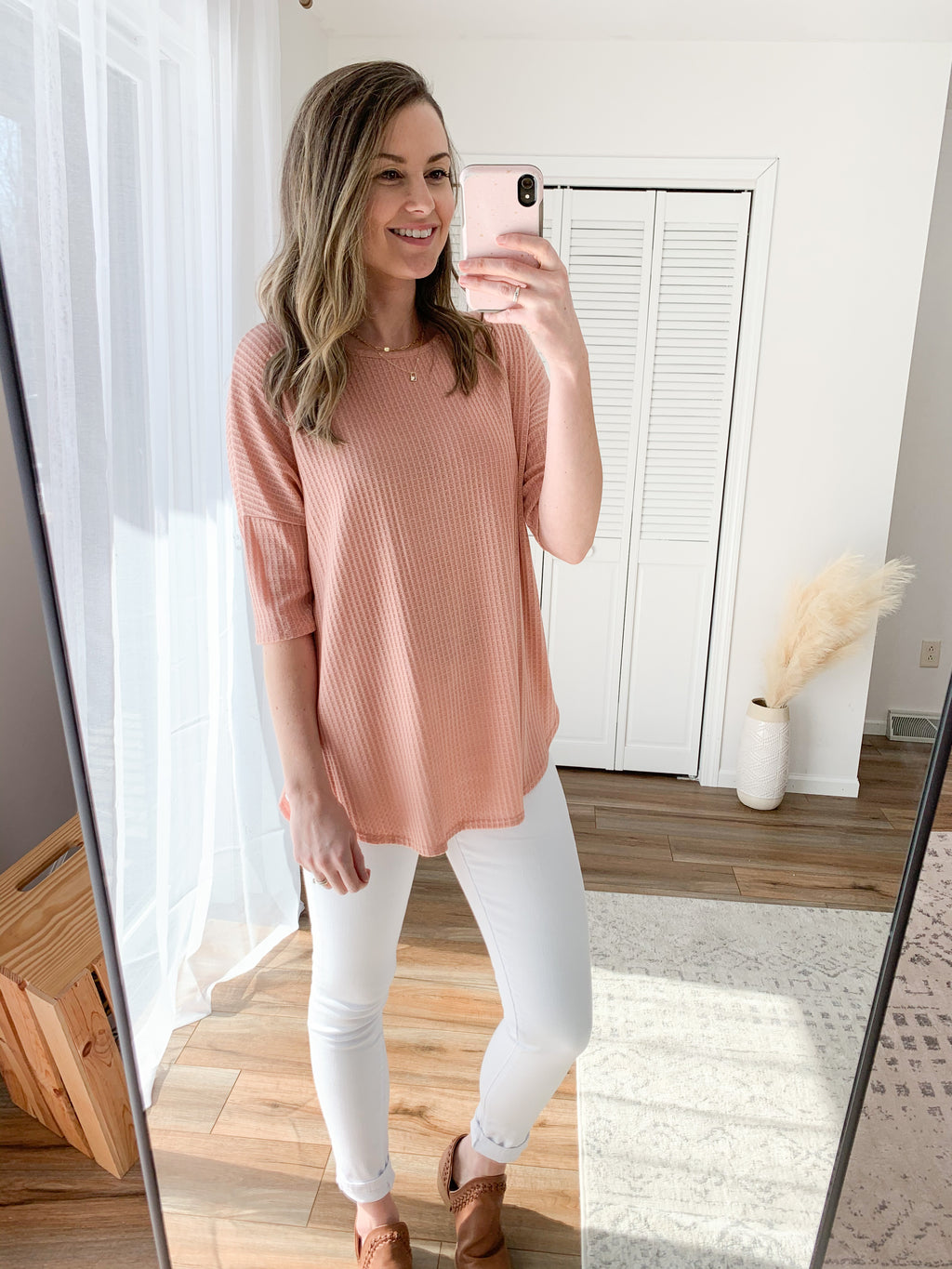 The Katy Waffle Knit Tunic in Rose