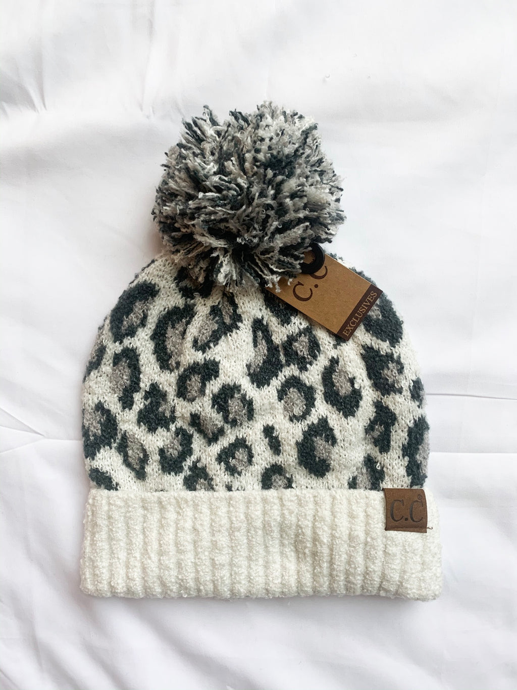 Leopard Knit Pom C.C. Hat in Ivory