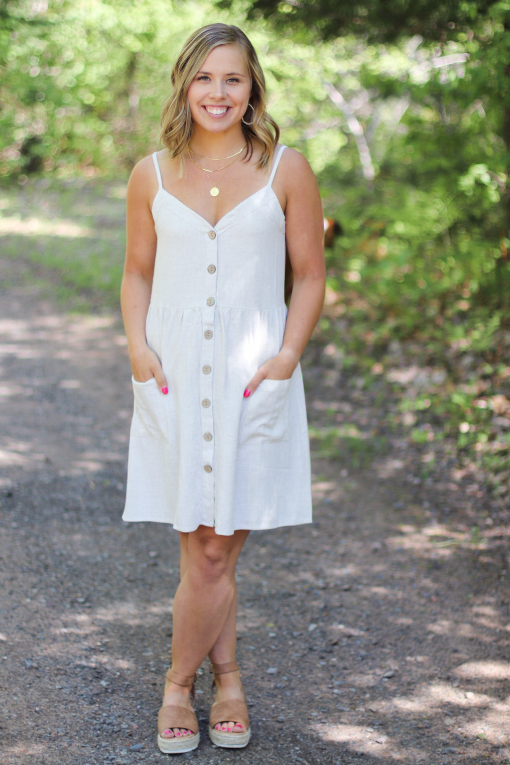 The Sophia Button Front Dress in Cream