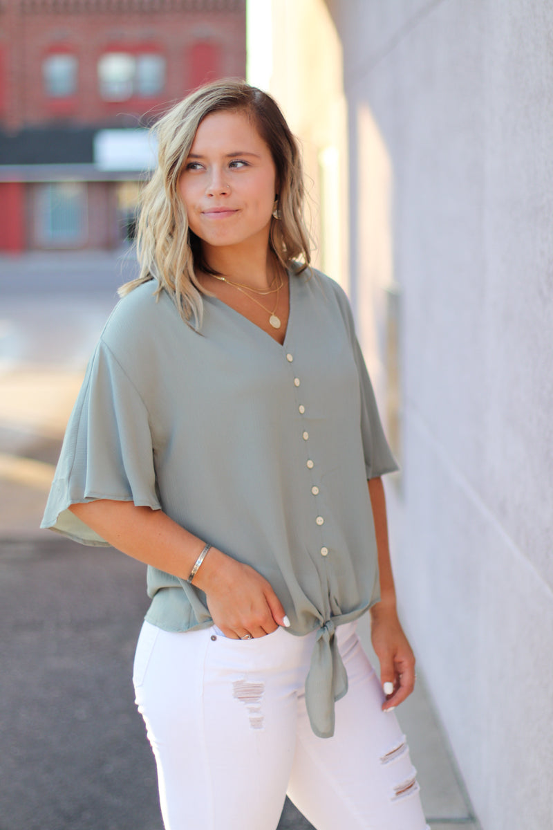 The Aster Button Front Blouse in Sage