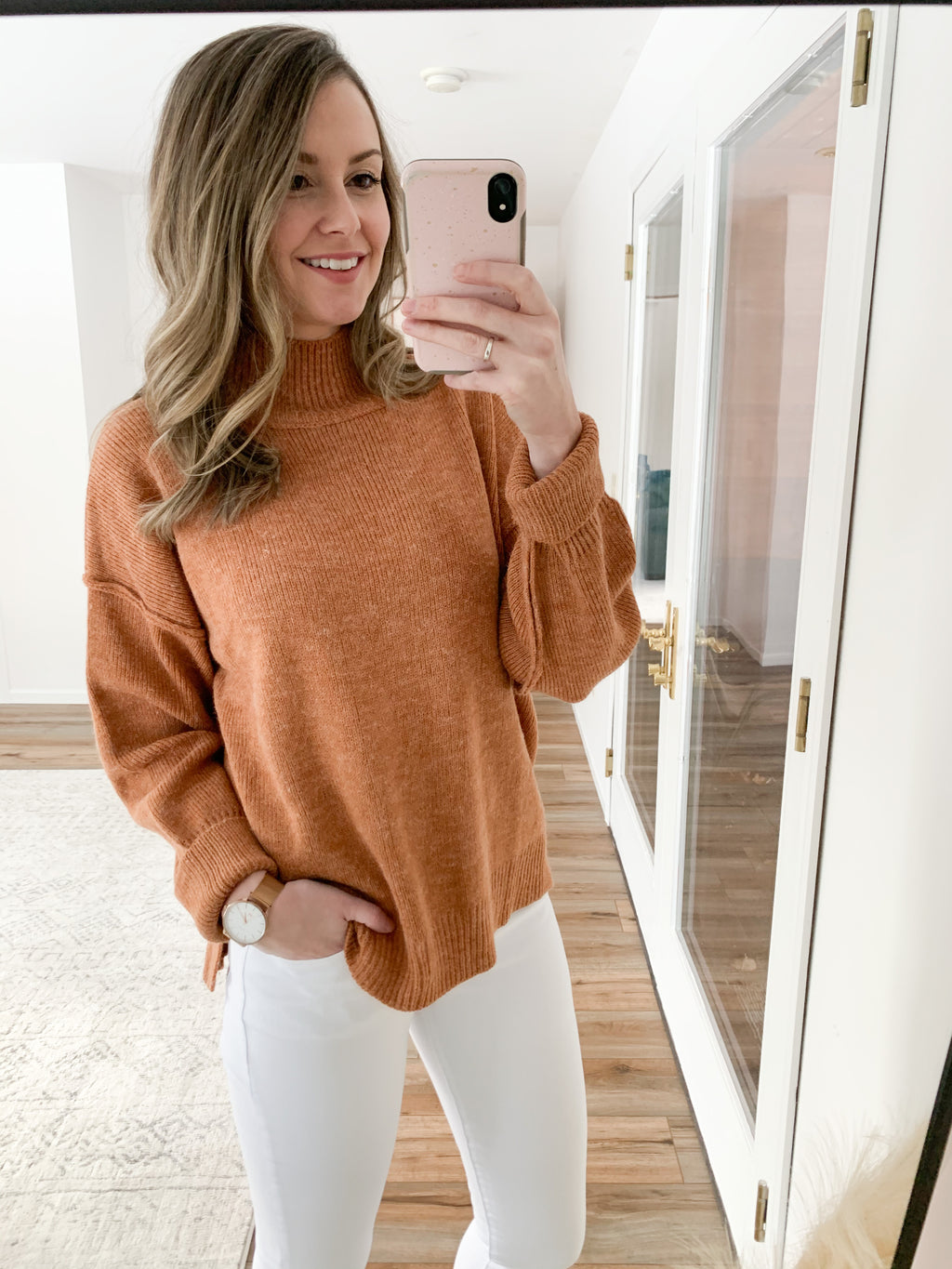 The Cami Mock Neck Sweater in Camel