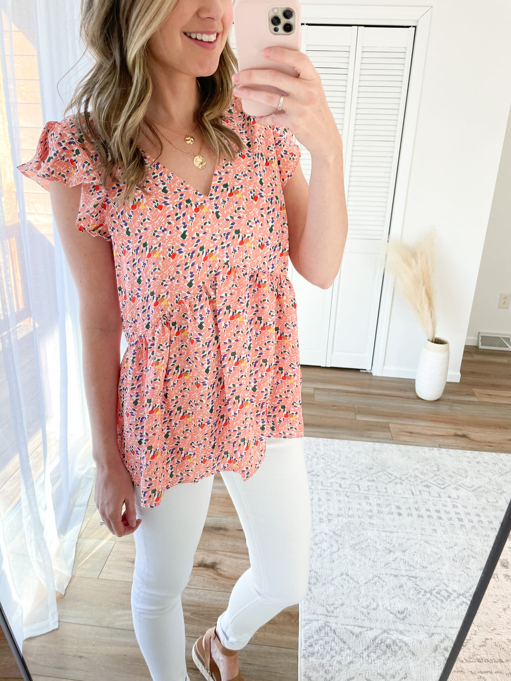 Summer Mosaic Babydoll Blouse in Peach