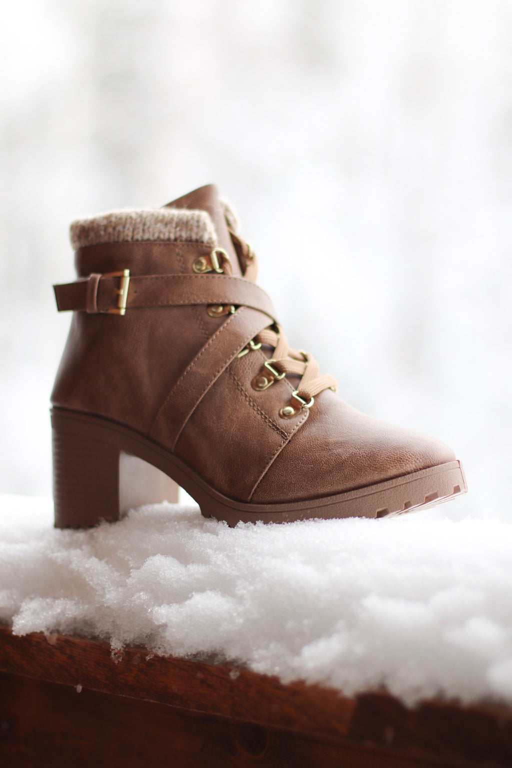 Sweater Cuff Booties in Taupe