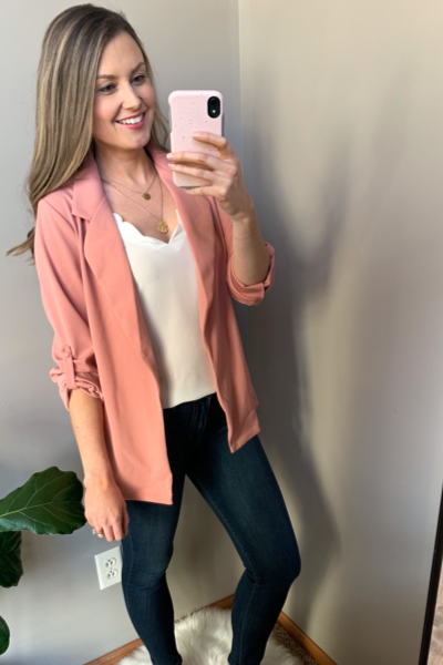Down to Business Blazer in Rose