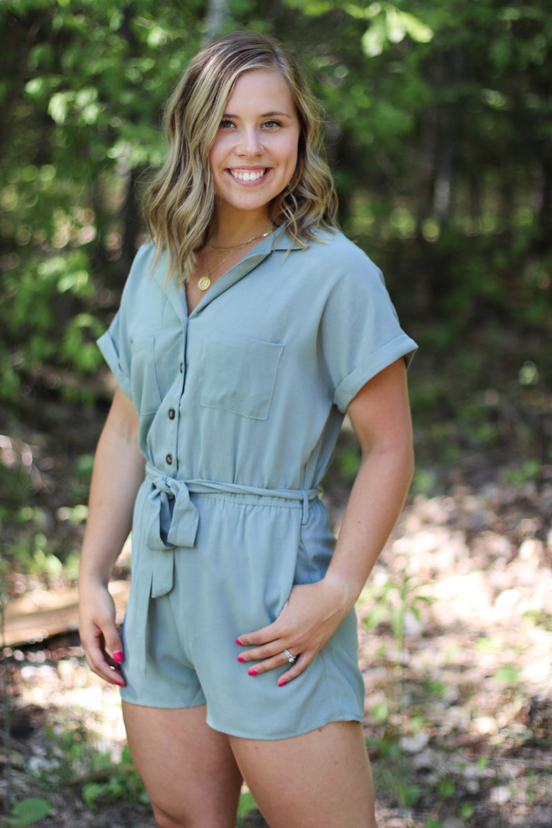 Olive Utility Romper