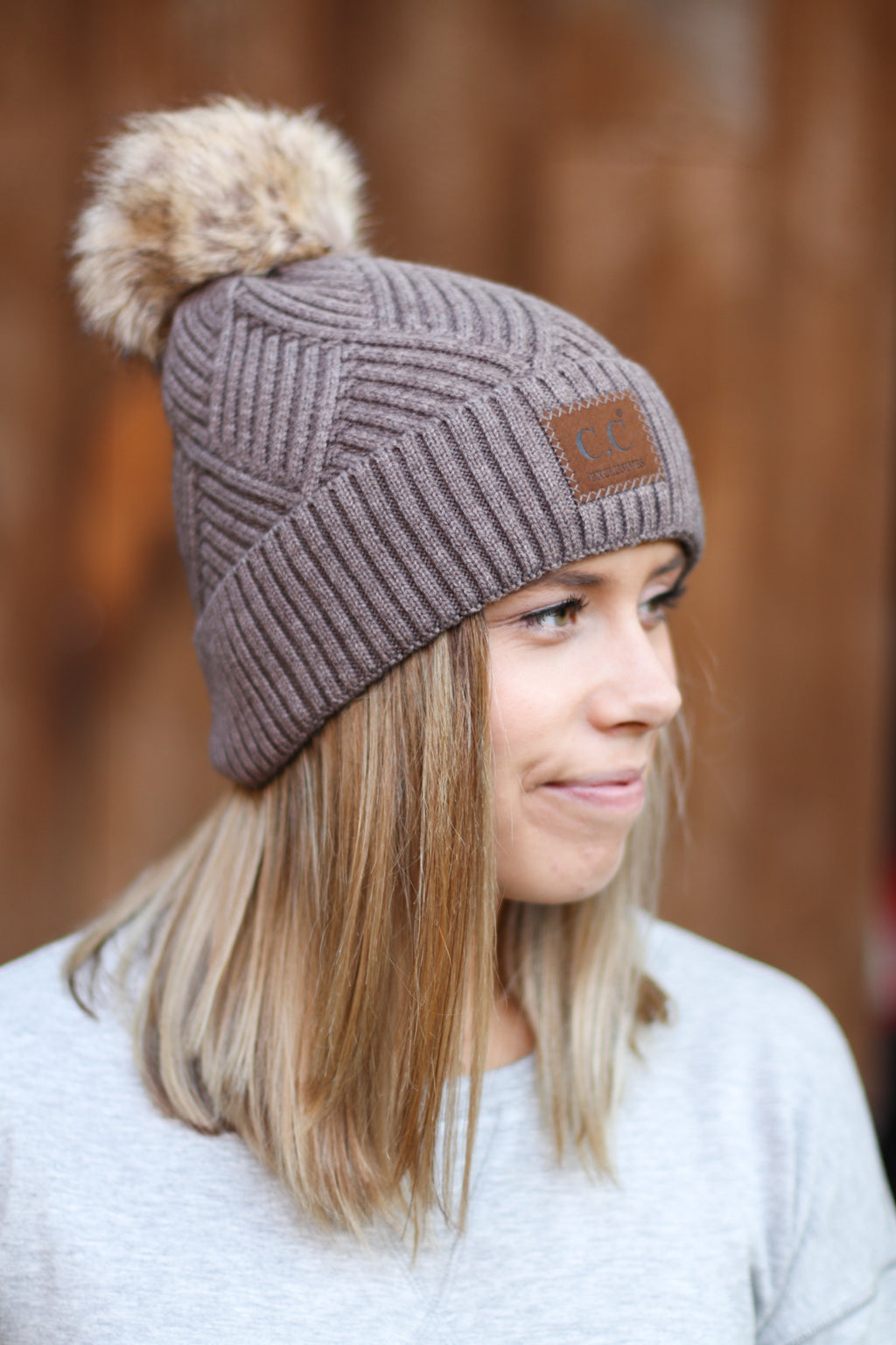 C.C. Large Patch Beanie in Taupe