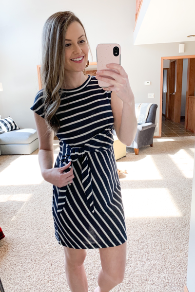 The Saylor Striped Dress in Navy