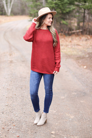 The Jenna Waffleknit in Red Rust