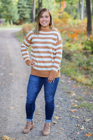 The Audra Striped Sweater in Camel