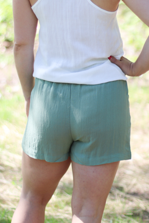The Remy Paperbag Shorts in Olive