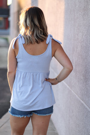 The Marni Babydoll Tank in Light Blue