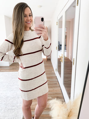 The Shayla Striped Sweater Dress